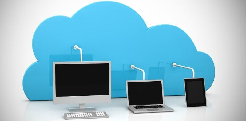 digital devices connected to a cloud (3d render)